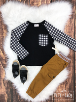 Pete+Lucy Black & White Buffalo Plaid Boys Shirt