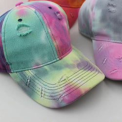 Distressed Tie Dye Hat with adjustable back