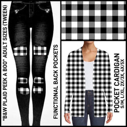 Denim LOOK B & W Plaid Patches Leggings & Joggers