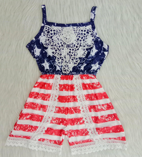 Girls American Flag Romper with Lace Crochet Details