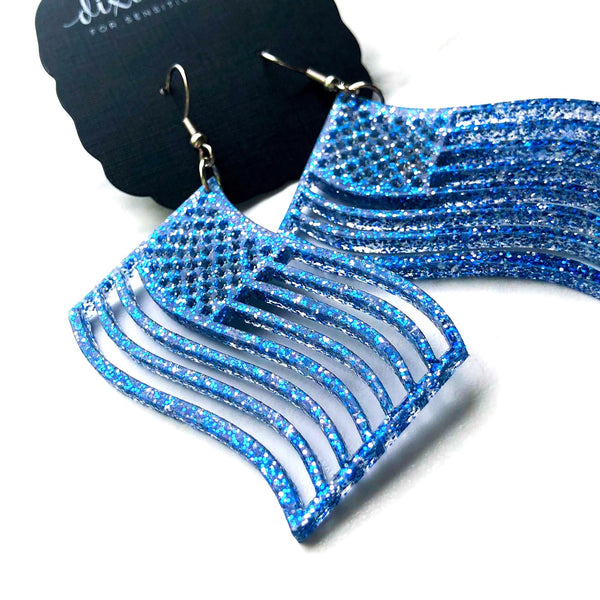 Blue Glitter American Flags DB Dangle Earrings - Lightweight - FOR SENSITIVE EARS