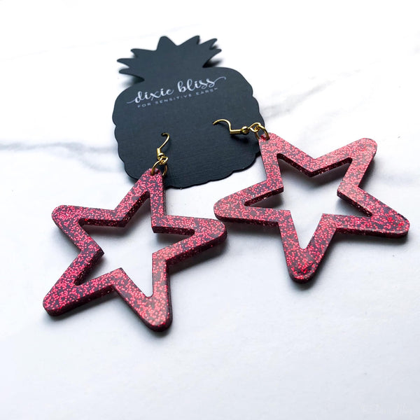Retro Glitter Stars in Red DB Dangle Earrings - FOR SENSITIVE EARS