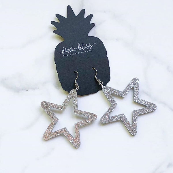 Retro Glitter Silver Stars DB Dangle Earrings - FOR SENSITIVE EARS