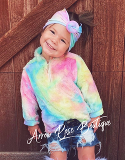 Unicorn Tie Dye Fuzzy Pullover for KIDS