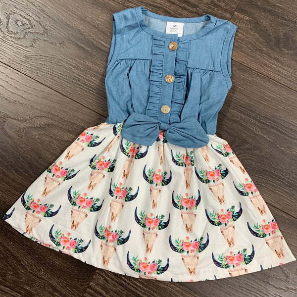 Girls Denim Bullhead Dress