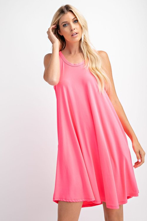 Butter Soft Solid Neon Swing Dress