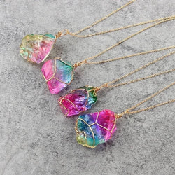 Colorful Natural Stone Crystal Necklace with Gold Wrap & Chain