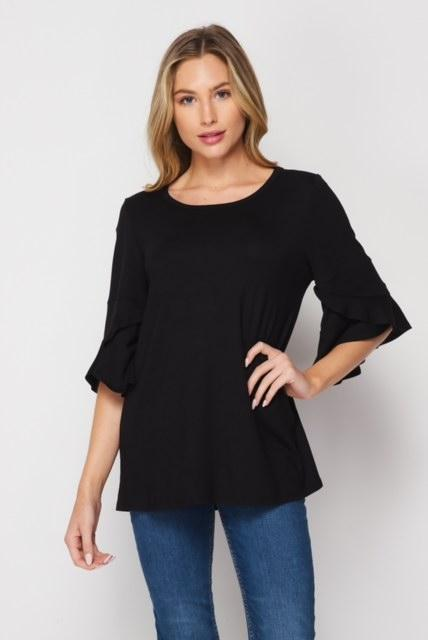 Shine Through Darkness Ruffle Sleeve Top