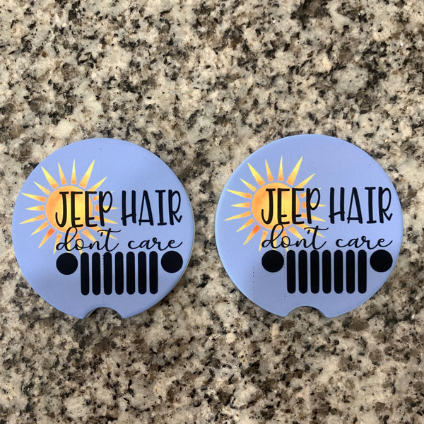 Jeep Hair - Don't Care - Sandstone Car Coasters Set
