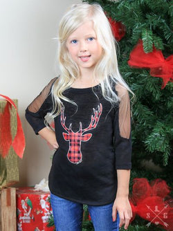 Girls Buffalo Plaid Deer Tunic with Cold Shoulder Look
