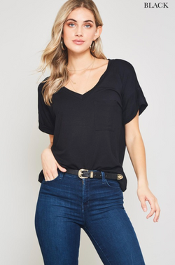 BLACK Casual Boyfriend V-Neck Tee with Pocket
