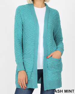 ASH MINT Long Sleeve Popcorn Cardigan with Pockets