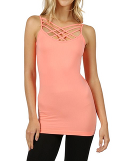 CORAL Seamless Triple Criss-Cross Front Cami