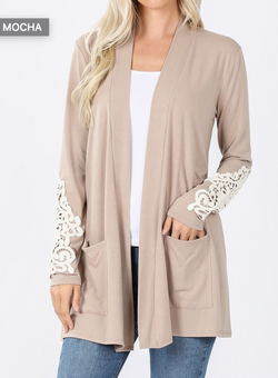 ASH MOCHA Lace Patch Slouchy Pocket Cardigan