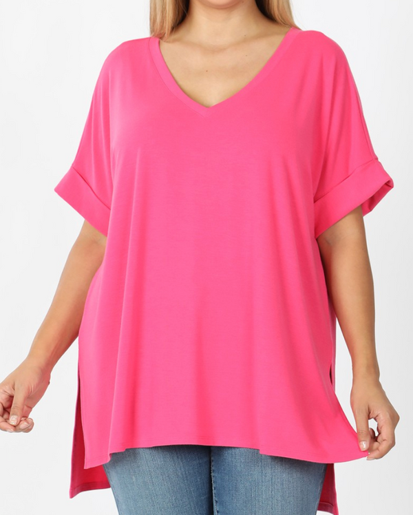 FUCHSIA Rolled Sleeve Side Slit Hi-Low Hem