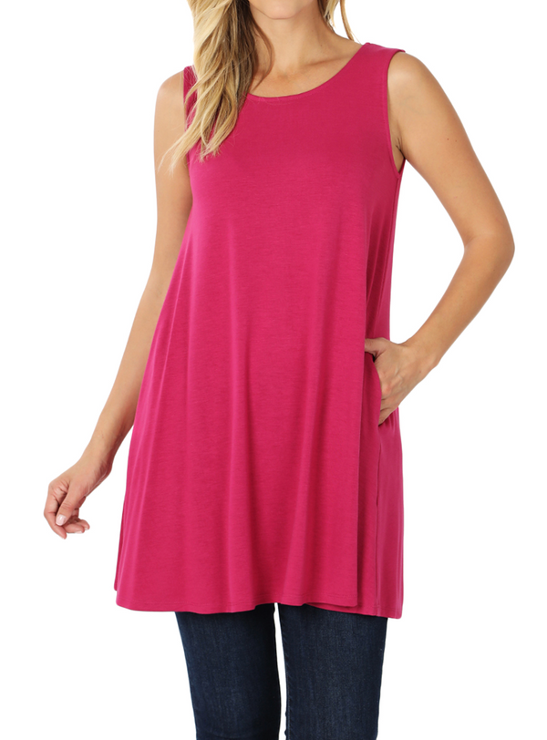 MAGENTA Women's Round Neck Sleeveless Flowy Tunic Top with Side Pockets