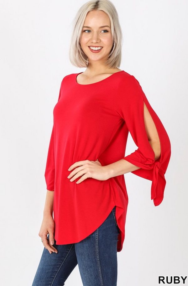 RUBY Split Self-Tie Half Sleeve Women's Top