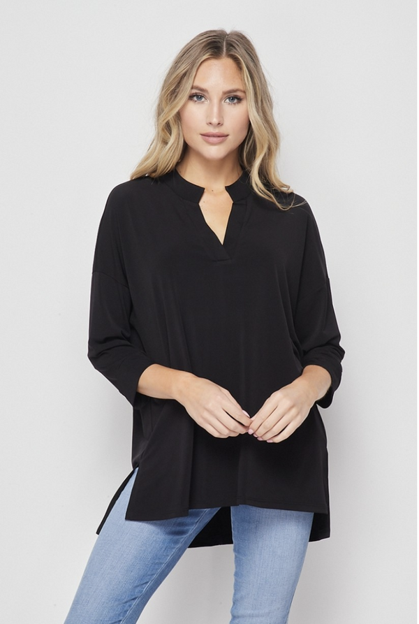 Quaint and Comfy 3/4 Sleeve Top in Black