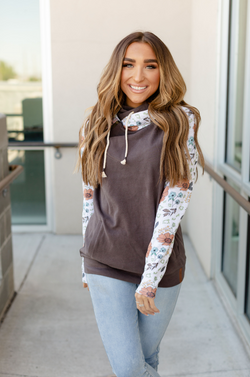 Ampersand Avenue Double Hood Sweatshirt Wild Flowers