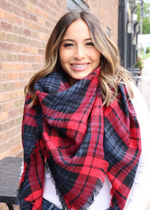 Navy/Red Buffalo Plaid Blanket Scarf
