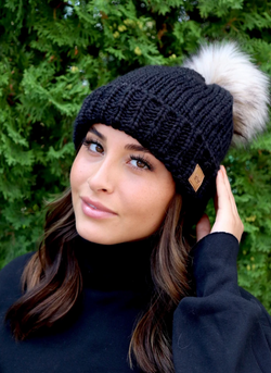 Black Knit Hat with Pom Accent - Fleece Lined