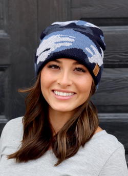 Navy Camo Beanie with Fleece Lining