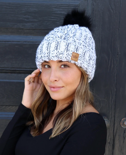 White and Black Fleece Lined Cable Knit hat with Pom Accent