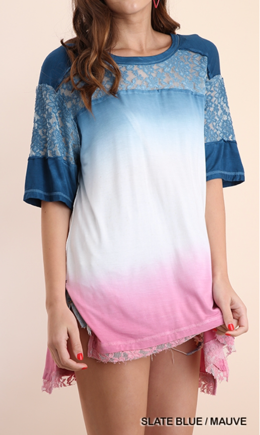 Slate Blue/Mauve Tri Color Dip Dye Tunic