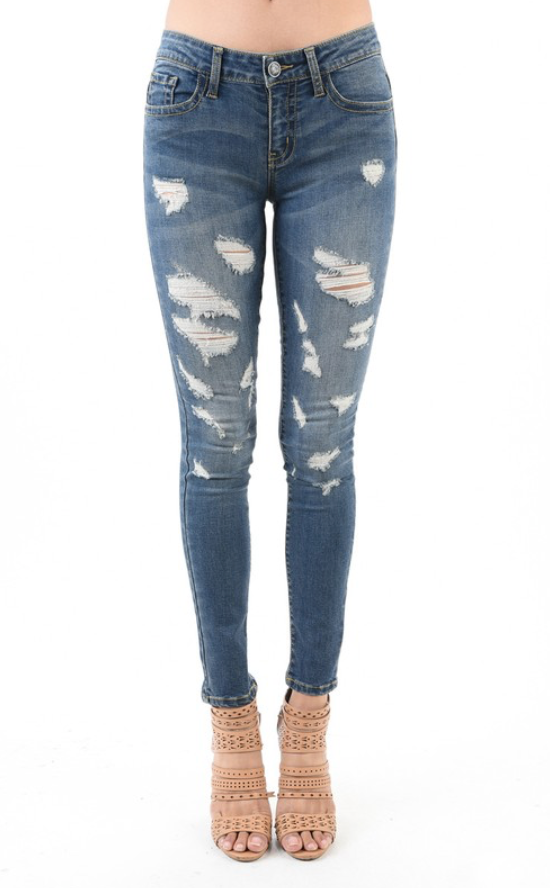 JB Denim Arts Co Destroyed Skinny Jeans