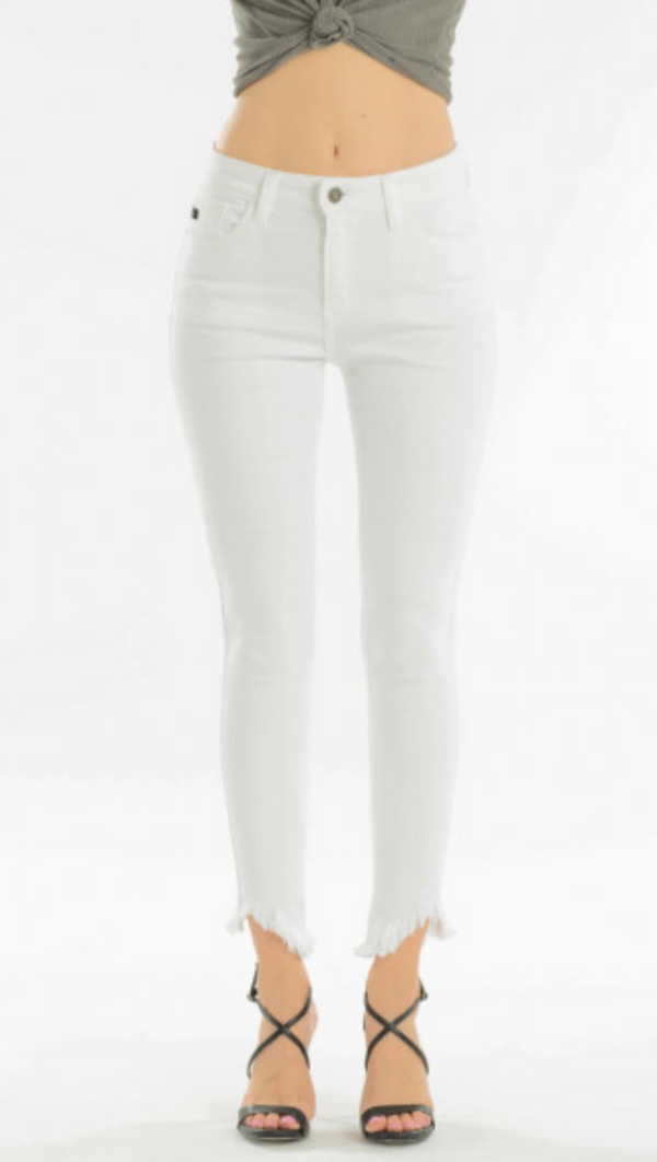 KC White Skinny Distressed Jeans