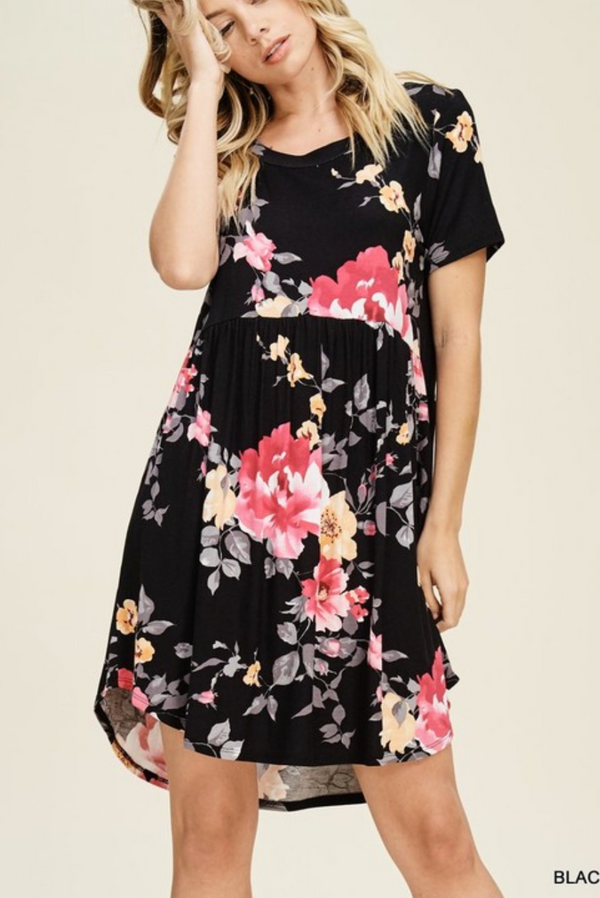 Floral Print BLACK Dress w/ Short Sleeves and Smocked Waistline