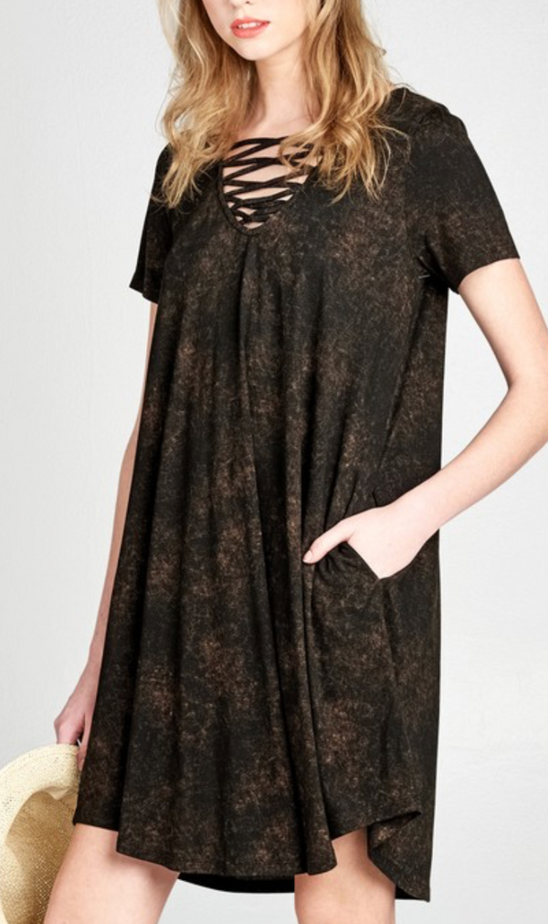 Caged V-Neck Mineral Washed Dress