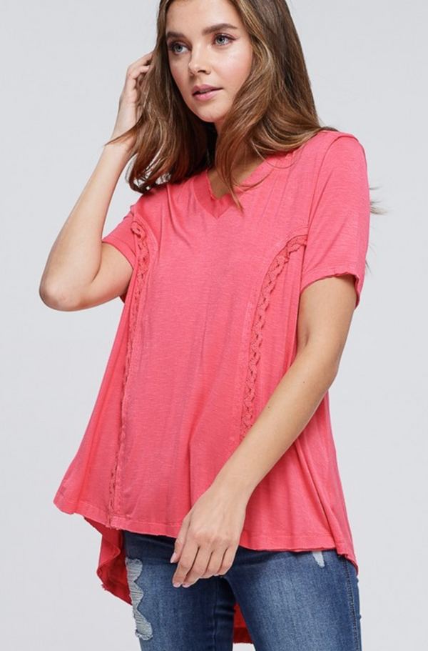 CORAL Short Sleeve Knit Lace Up Back TOP