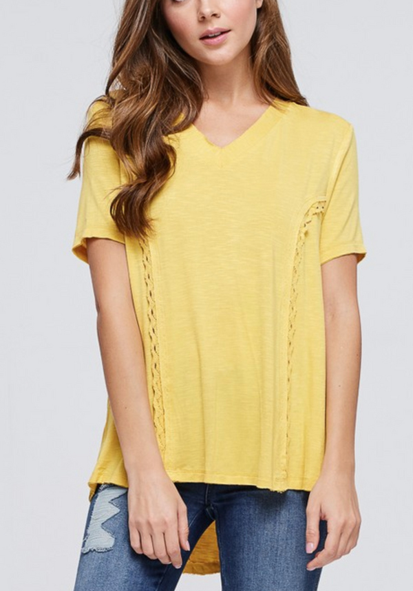 YELLOW Short Sleeve Knit Lace Up Back TOP