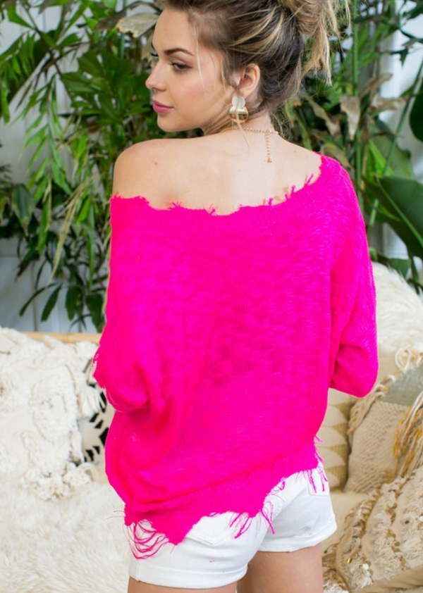 Distressed Hot Pink V Neck Star Printed Lightweight Sweater