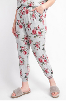 Floral Cashmere Feel Jogger Pants SOFT