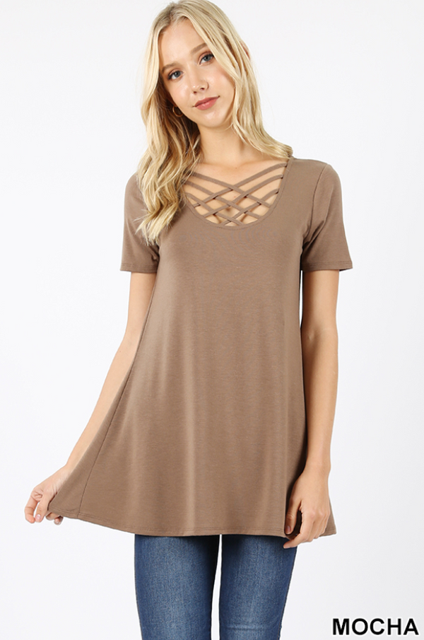 MOCHA Criss-Cross Short Sleeve Top