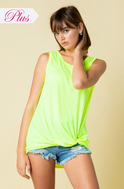 Neon LIME Solid Tank Top with Twist Knot