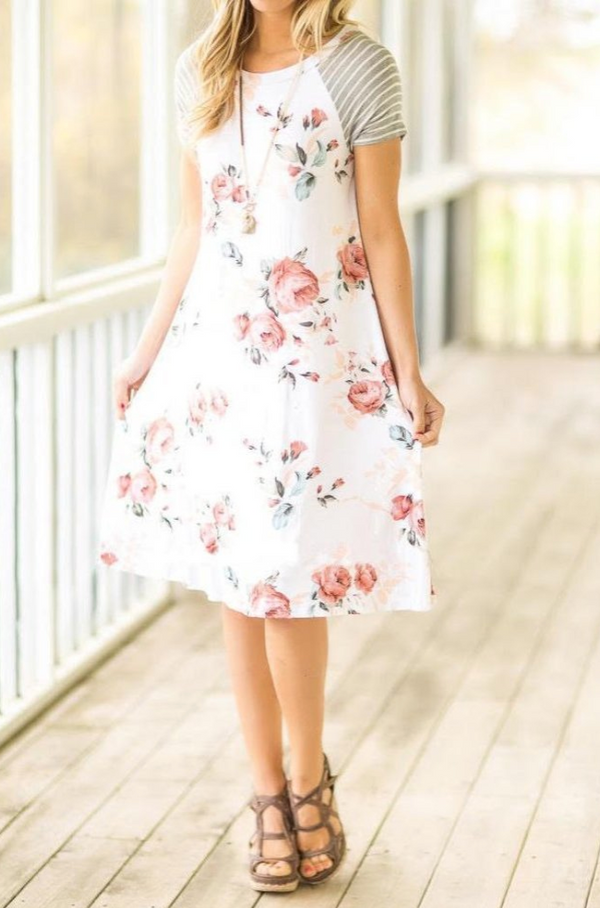 Ivory Floral Fun in the Sun Dress