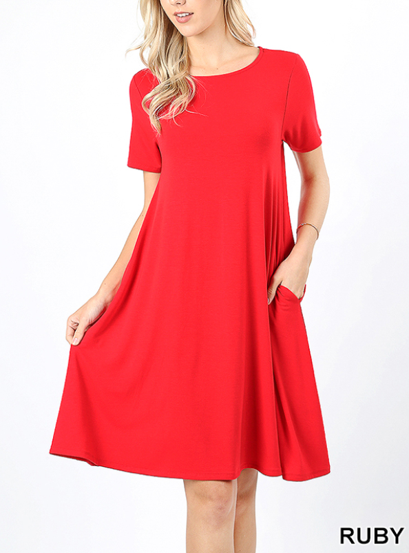 RUBY RED Short Sleeve Flared Dress w/ Pockets