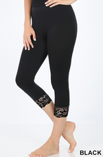 Black Capris Seamless Leggings with Lace Detail Cuffs