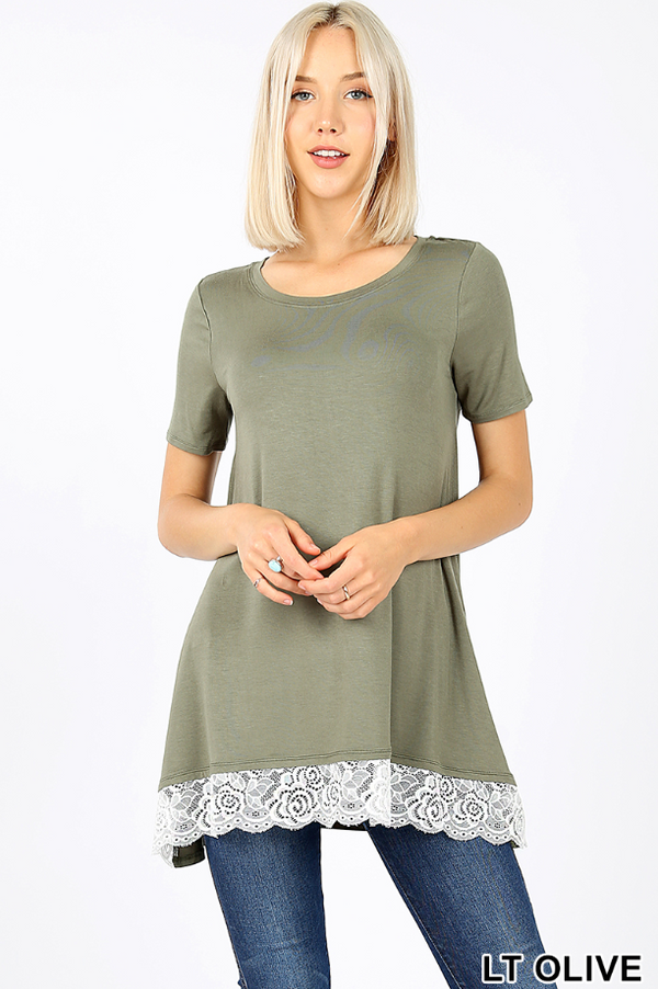 LIGHT OLIVE Rayon Short Sleeve Round Neck Lace Trim Hi-Low Hem Top