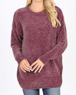 EGGPLANT Chenille Slouchy Sweater with Round Neck