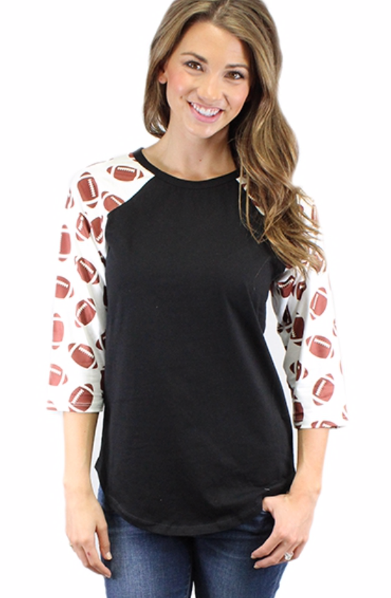Football Raglan Tee with Black Body