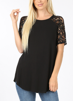 BLACK Rayon Lace Short Sleeve Top