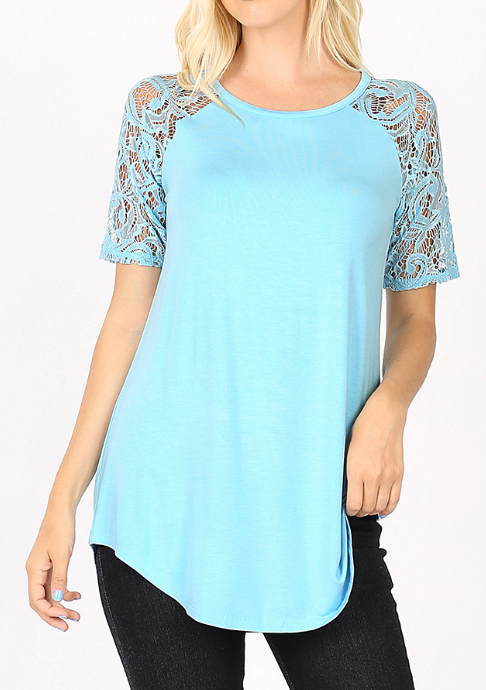 BABY BLUE Rayon Lace Short Sleeve Top