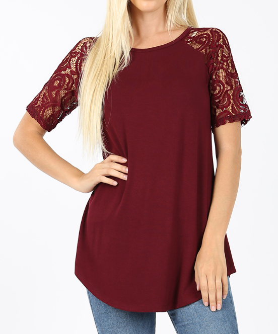 DARK BURGUNDY Rayon Lace Short Sleeve Top