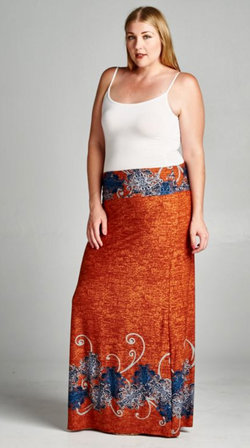 Rust Color Maxi Skirt with Paisley Design
