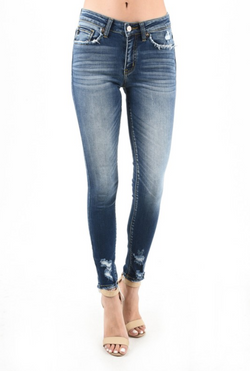 KanCan Skinny Jeans Medium Wash Sanded with Ankle Distressing