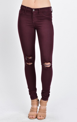 KanCan Wine Colored Rayon Denim with Destroyed Knees
